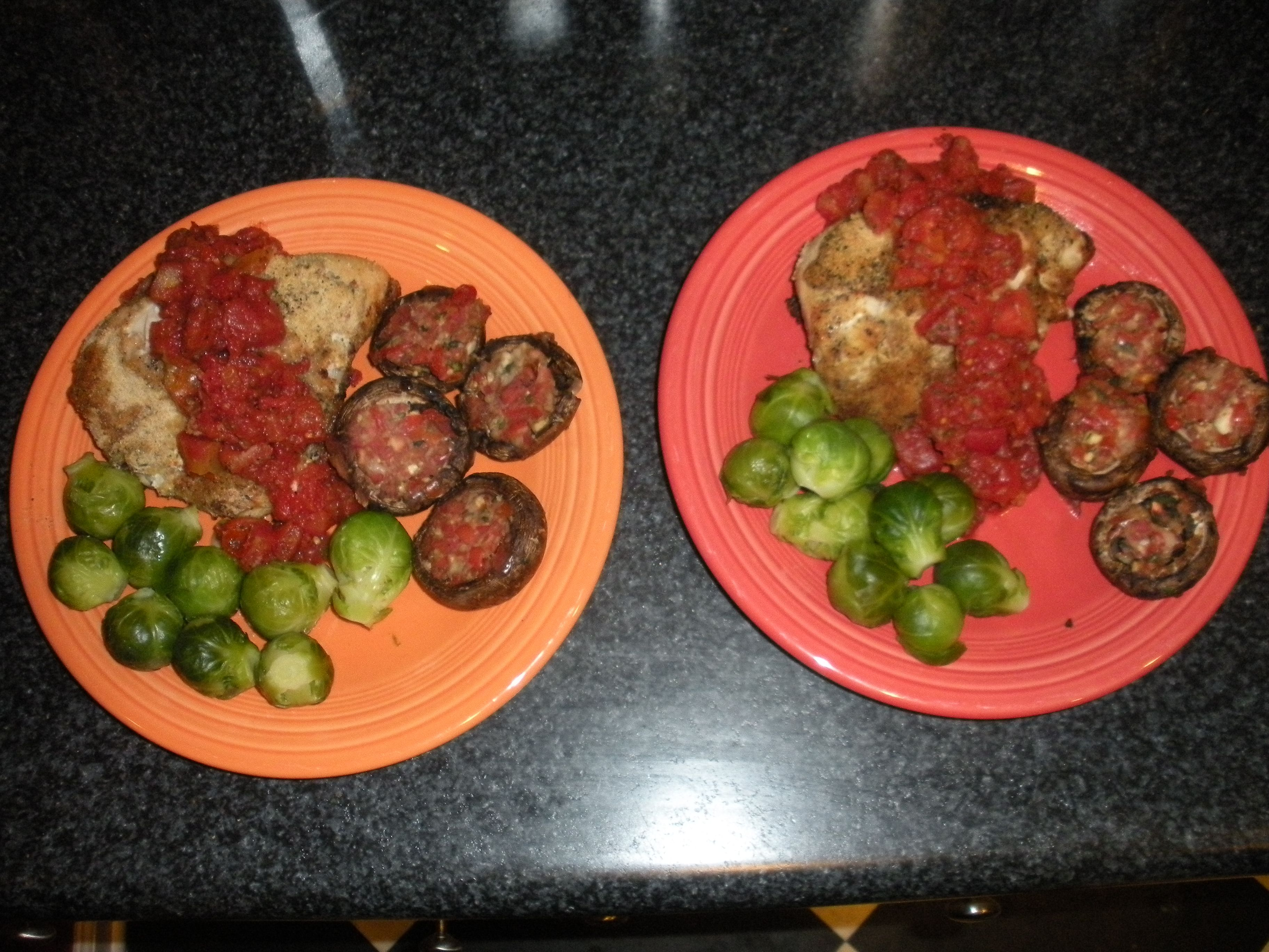 Parmesan crusted bruschetta chicken, Brussels sprouts, Stuffed ...