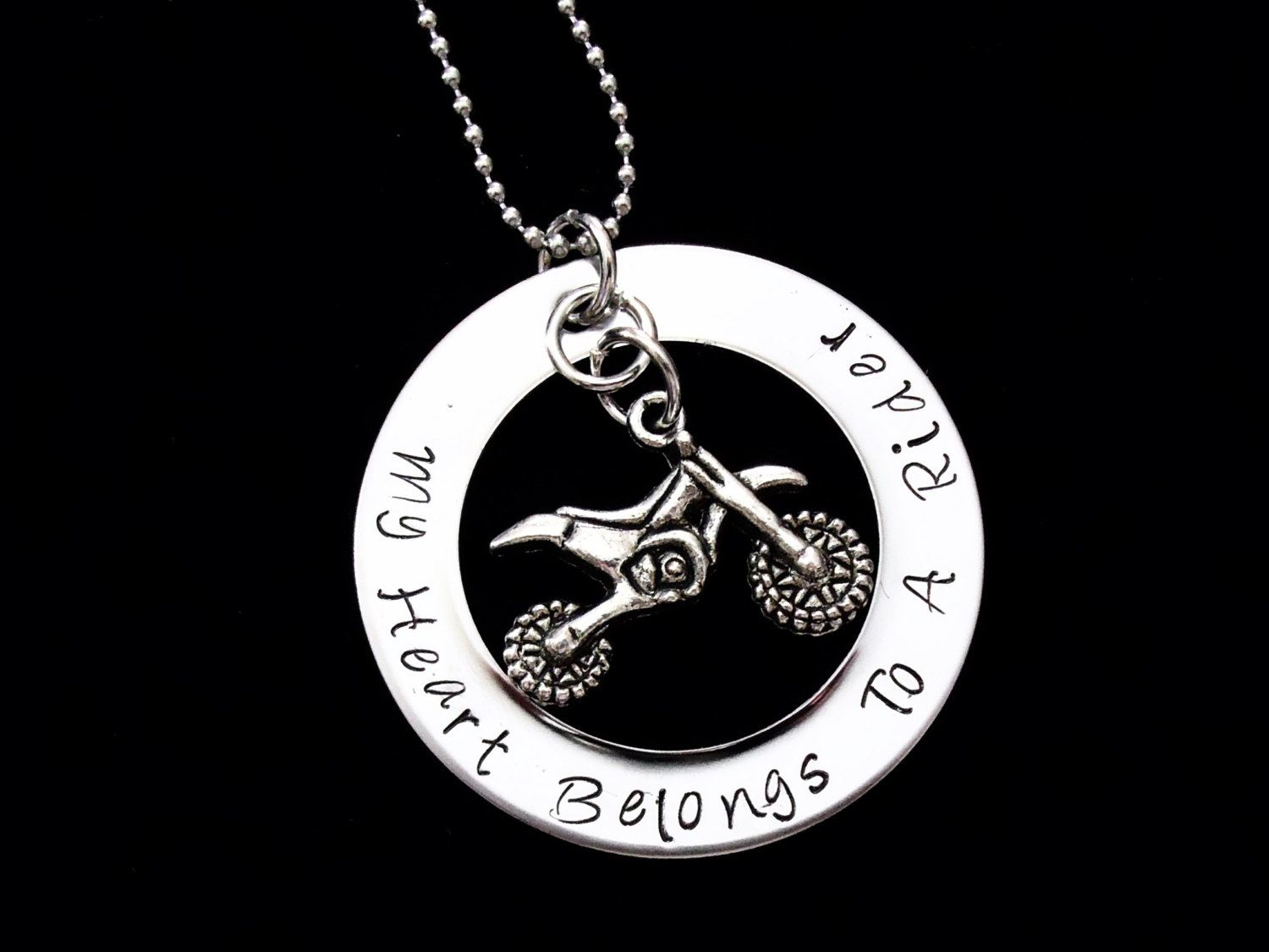 My heart belongs to a rider hand stamped pendant with necklace my heart belongs to a rider hand stamped pendant with necklace atv rider mozeypictures Gallery