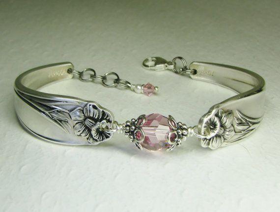 Silver Spoon Armband, Ljus rosa kristaller, White Pearl, sked smycken, påsklilja 1950