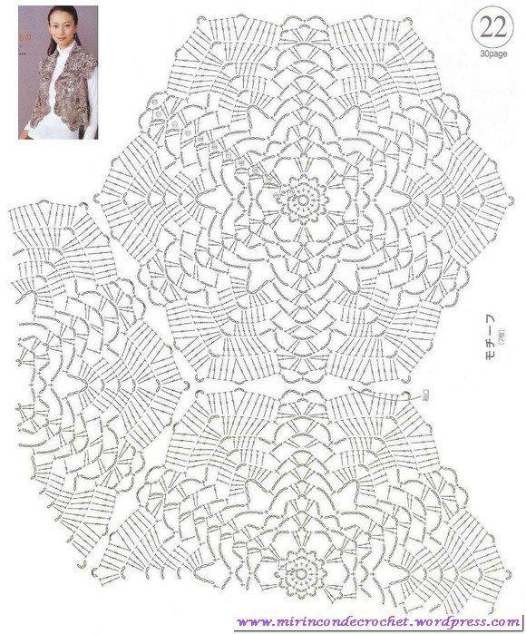 Original chaleco con motivos hexagonales   crochet   Pinterest ...