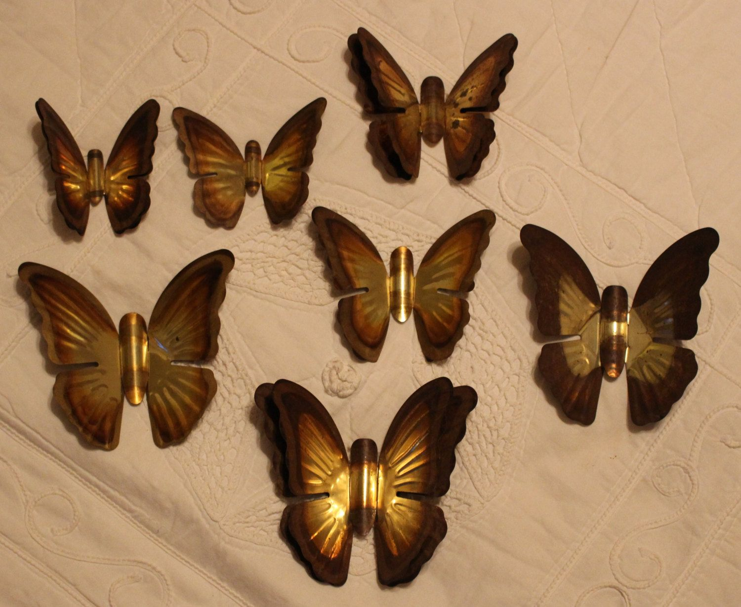Vintage metal brass butterfly wall hangings small medium and large