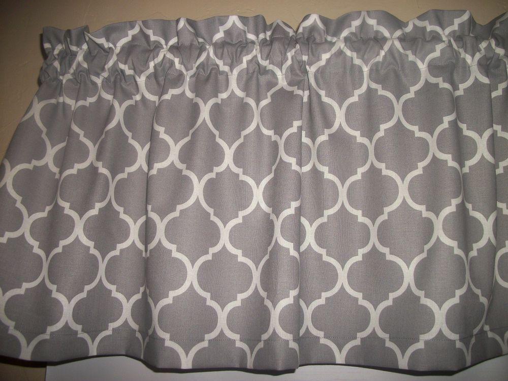 Gray Ogee Lattice Quatrefoil Fabric Kitchen Bathroom Curtain Valance Handmade Quatrefoil Fabric Kitchen Fabric Bathroom Curtains