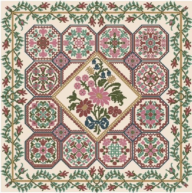 Схемы вышивки узорами подушек