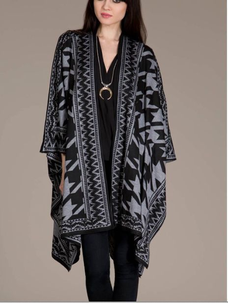 URBAN PEOPLE Black Boho Oversized Slouchy Wrap/Sweater/Cardigan ...