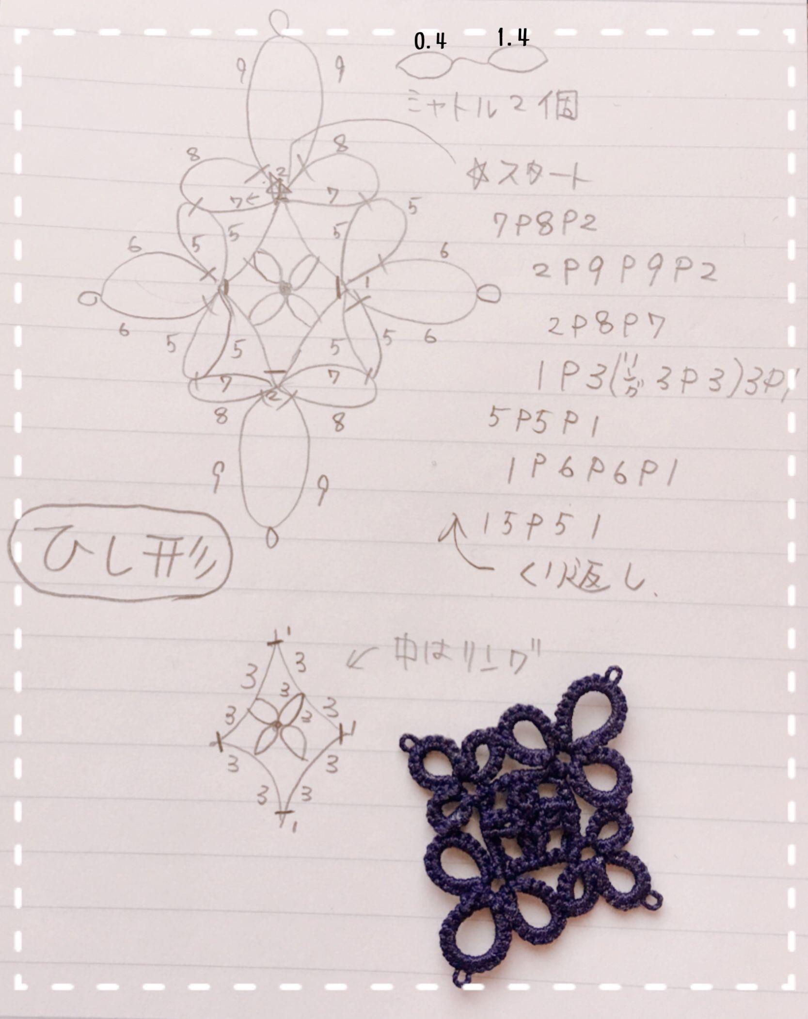 タティングレースのミニドイリー「花」編み図♪ |  …