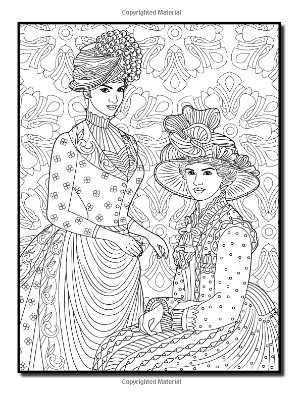Amazon Victorian Fashion An Adult Coloring Book With Beautiful Vintage Dresses