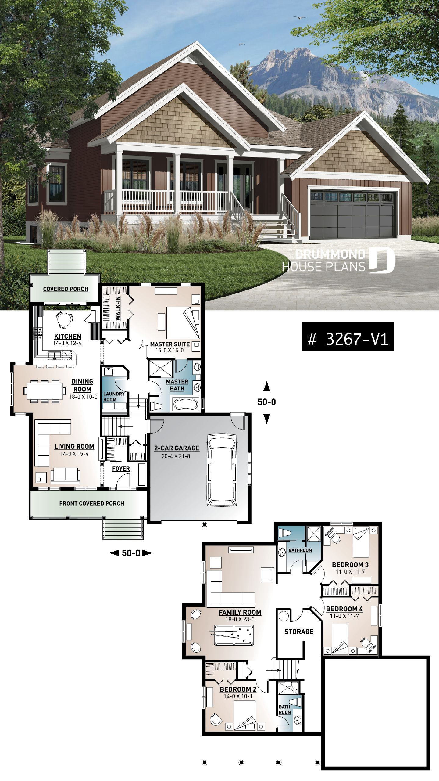 Discover The Plan 3267 V1 Jackson 2 Which Will Please You For Its 1 2 3 4 Bedrooms And For Its Mountain Styles Bungalow House Design House Blueprints Bungalow House Plans