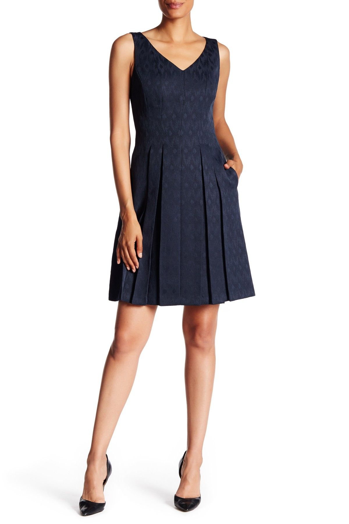 On Hautelook Tahari Jacquard Box Pleat A Line Dress A Line Dress Dresses Clothes Design [ 1800 x 1200 Pixel ]