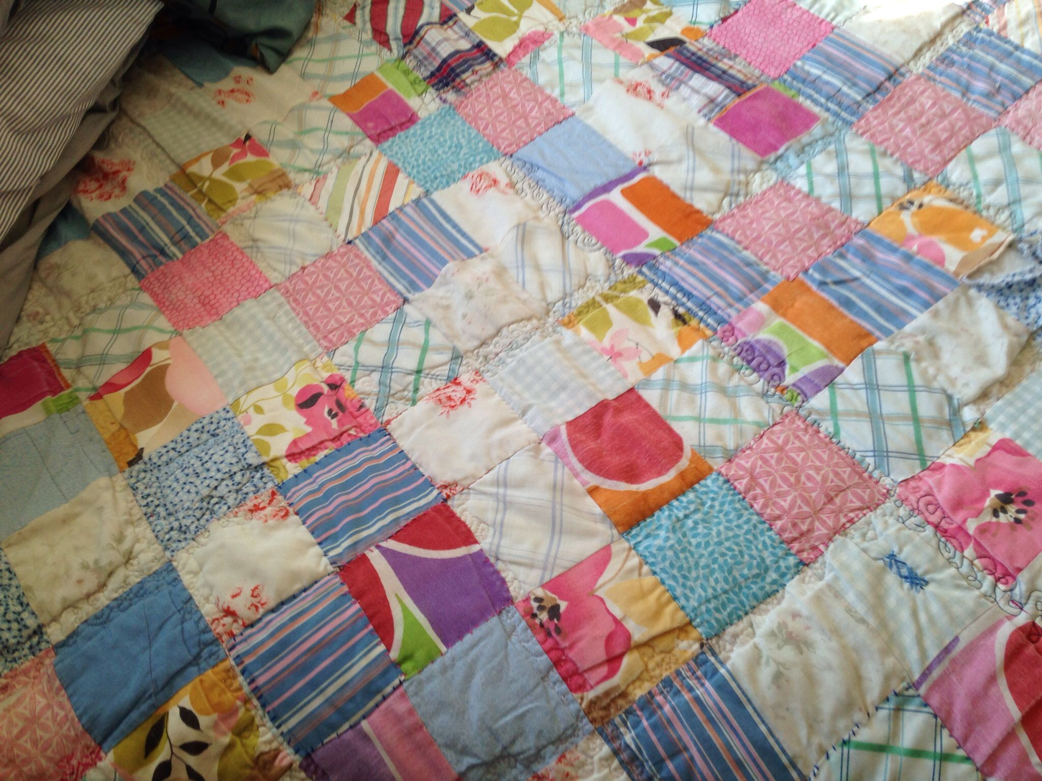 Free-form quilting with machine.