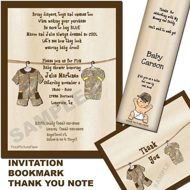 Camo Clothesline Baby Shower Invitation by YourPictureFixer | Baby ...
