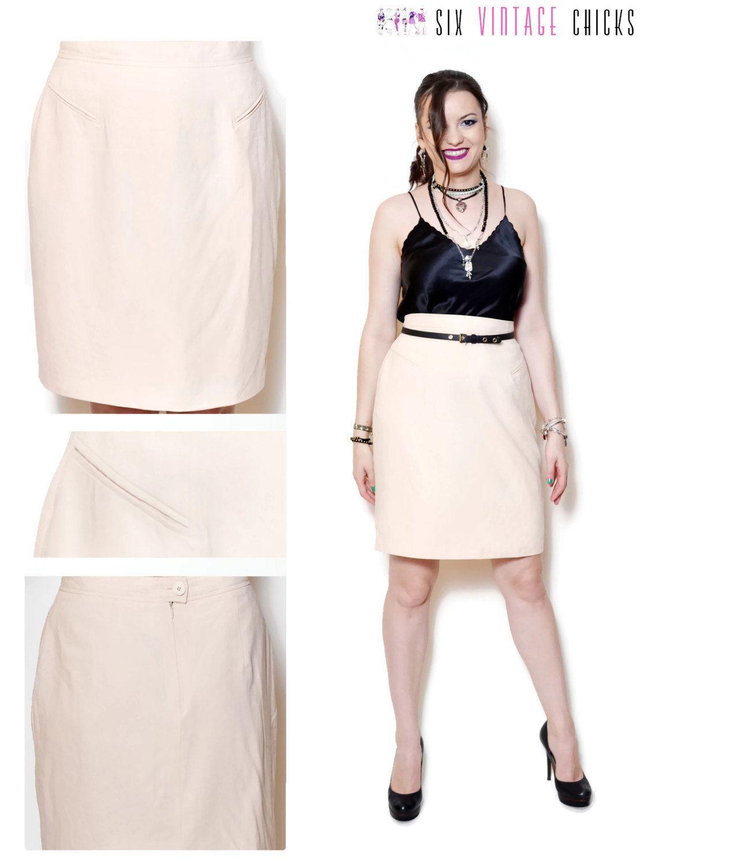 90s pencil skirt straight slitted cream plain high waisted sexy ...