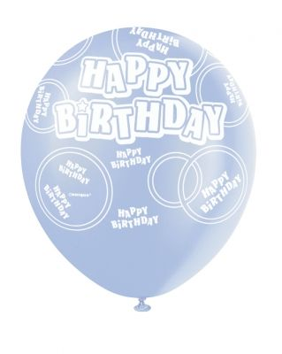 Powder Blue Printed Happy Birthday Balloon