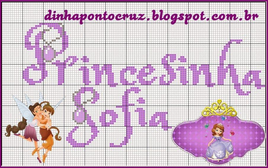 Dinha Ponto Cruz: Monograma Princesinha Sofia | PRINCESAS | Pinterest