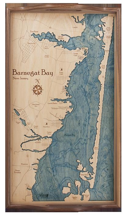 Wooden Charts Maps More Nautical North Barnegat Bay Long Beach Island New Jersey