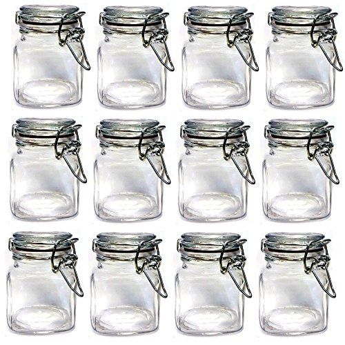Set Of Mini Glass Clip Top Spice Storage Jars For