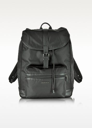 Armani Jeans Black Canvas and Eco Leather Men's Backpack Was $335.00 Now $201.00