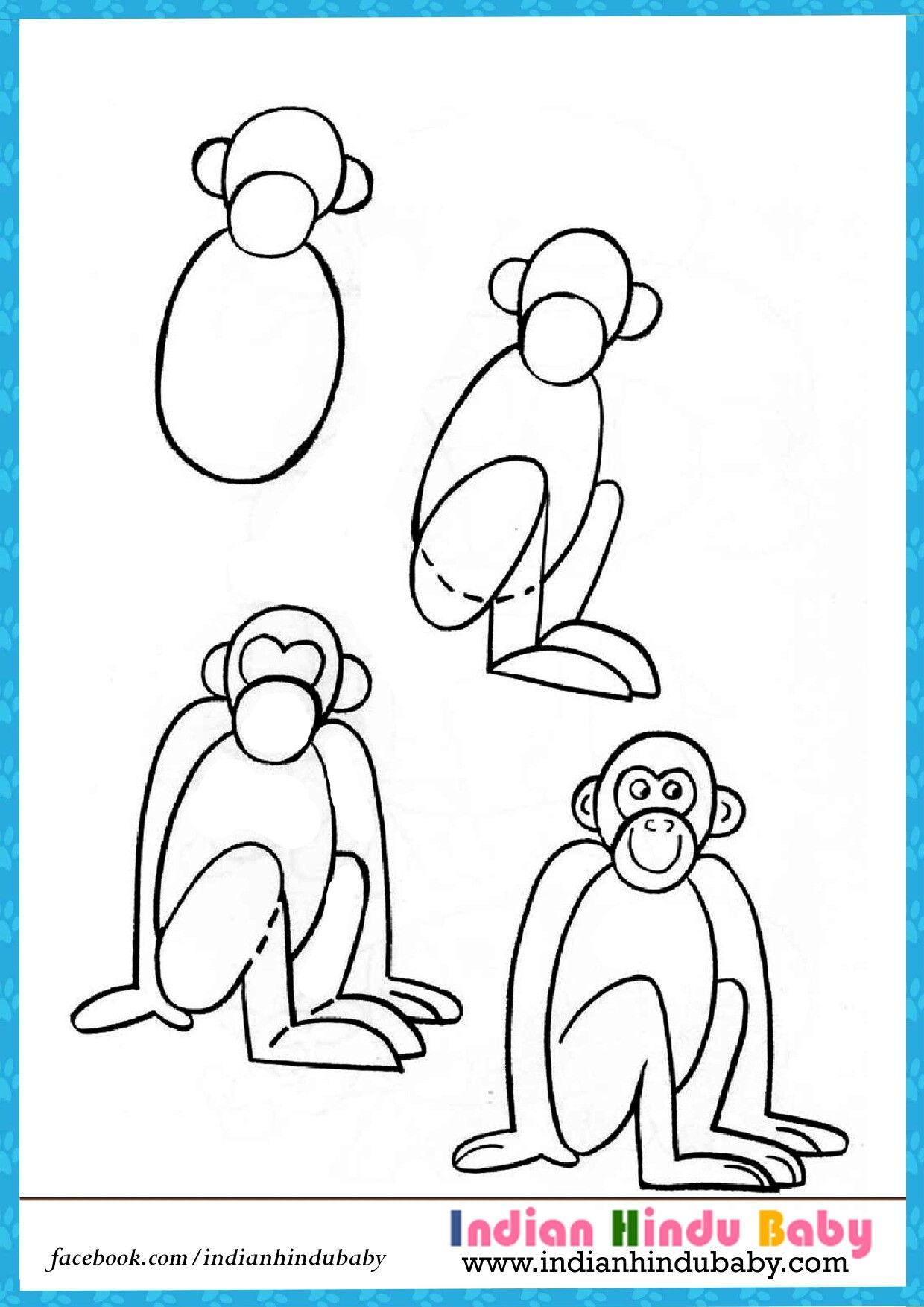 Teach your kid to draw Monkey with simple drawing tips https