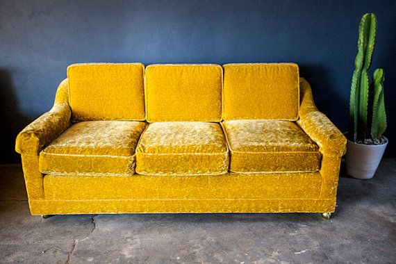 Vintage Gold Yellow Velvet Sofa Couch Loveseat By Cushionfever