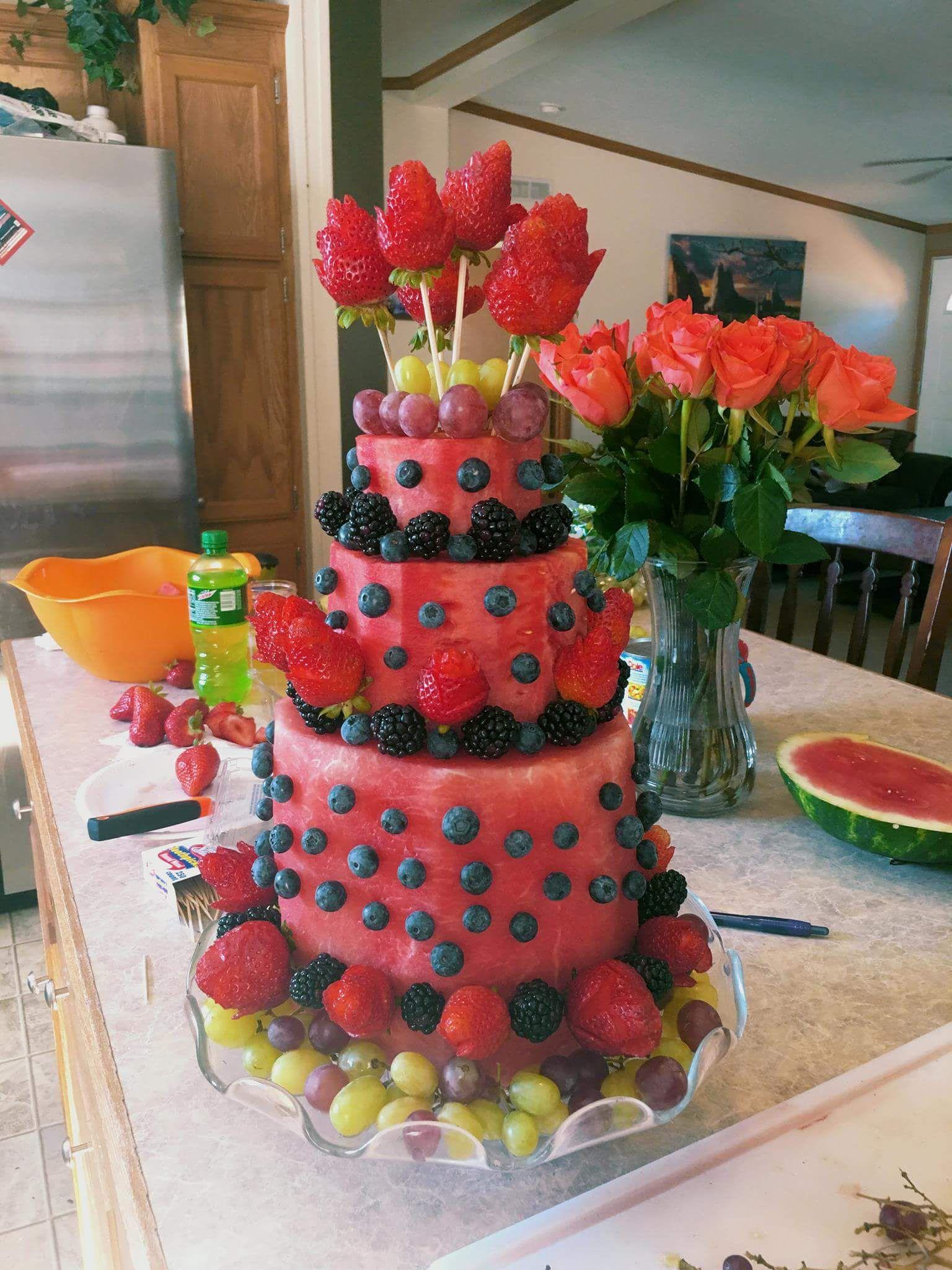 Watermelon Cake Watermelon cake, Fruit birthday cake