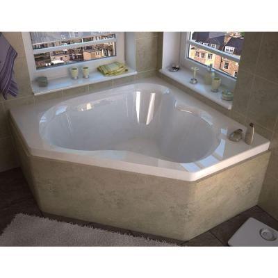 Acrylic Center Drain Corner Bathtub In White HD6060CS   The Home Depot