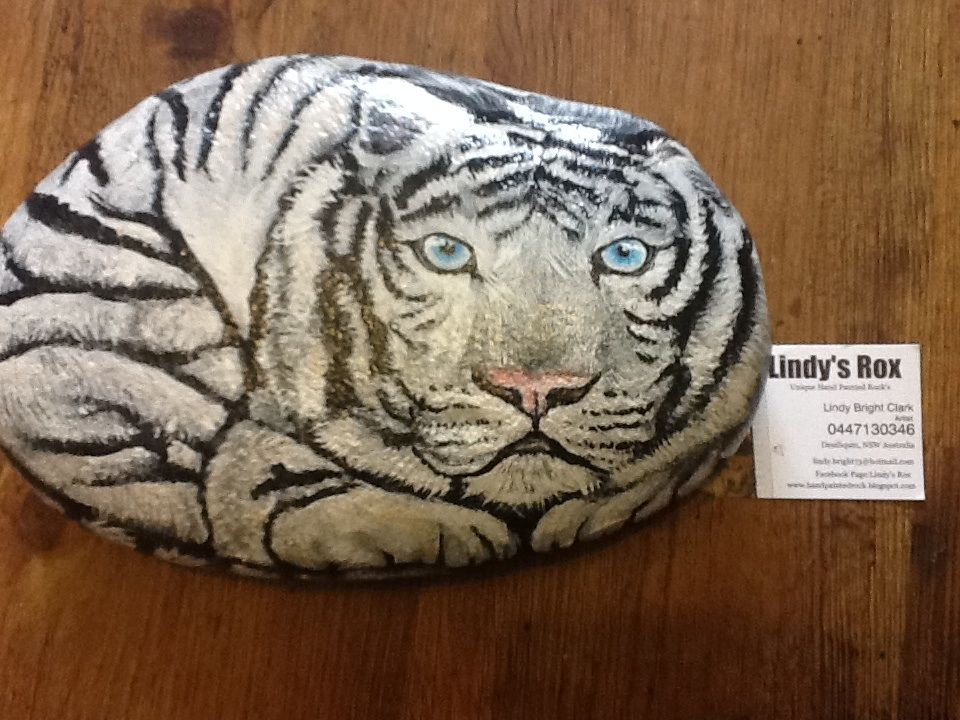 Hand painted White Tiger Rock come over to Lindy's Rox on Facebook I would love to see you :) cheers Lindy