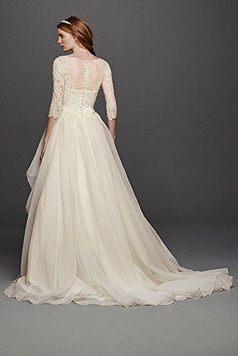 21f1d3d7ca5b6 Zzz Oleg Cassini Organza 3/4 Sleeved Wedding Dress Style CWG731, Ivory, 6