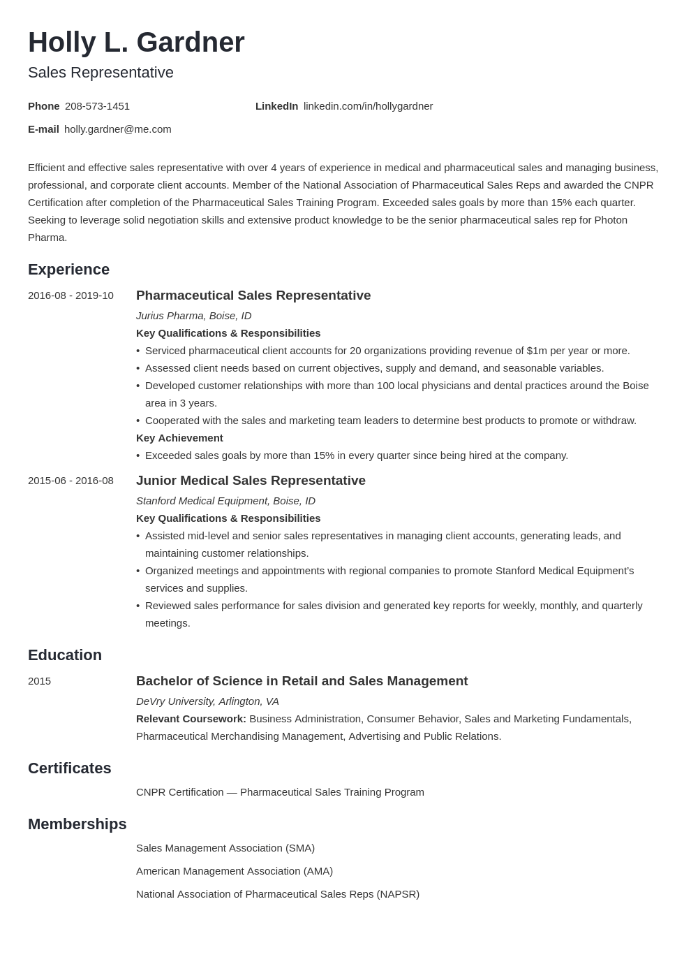 sales representative resume example template minimo in