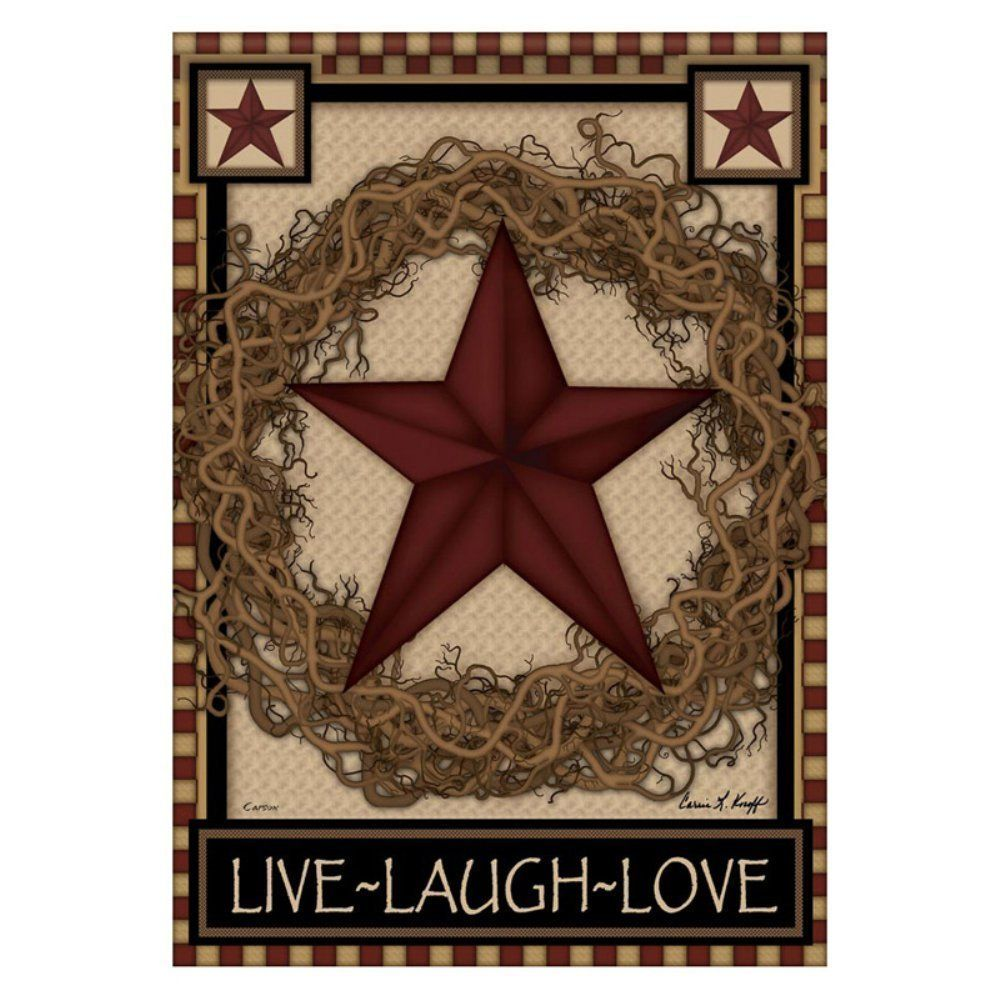 Country Primitive Barn Star Wreath Live Laugh Love Double Sided ...