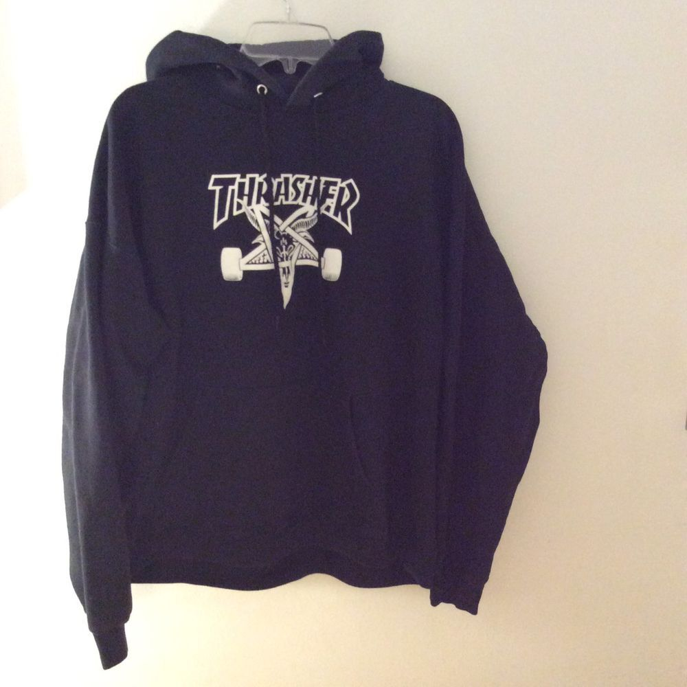 5f5c30d94cee Thrasher 666 Pentagram Satan Black Hoodie Sweatshirt Skateboarding Unisex  Large  Thrasher  Hoodie
