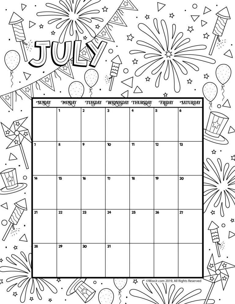 July 2019 Coloring Calendar Woo Jr Kids Activities Coloring Calendar Kids Calendar Coloring Pages