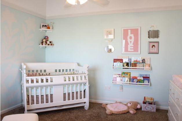 Modern Light Blue & White Girl's Nursery