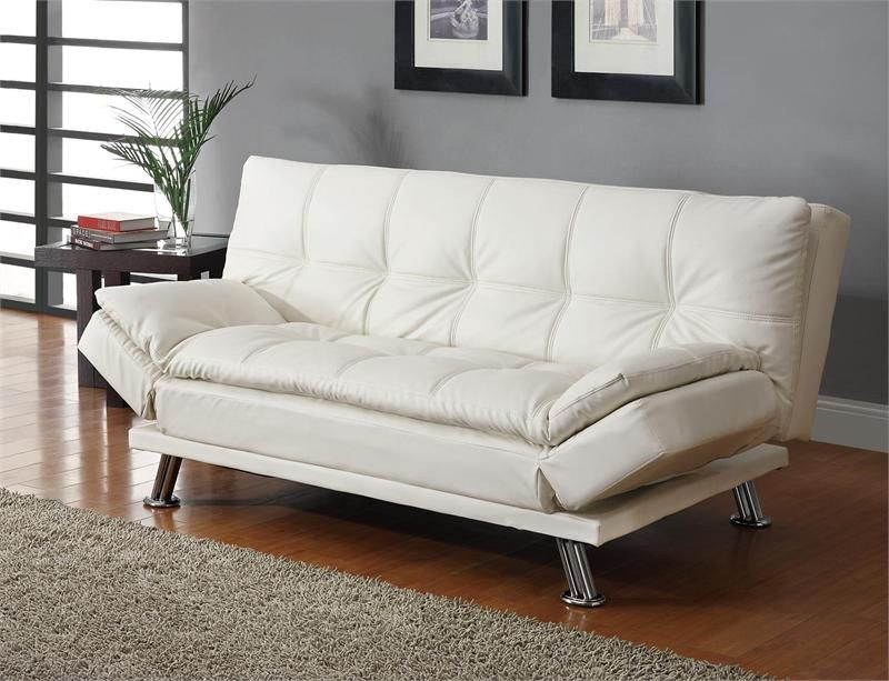 Contemporary White Leatherette Sofa Bed White Leather Sofas