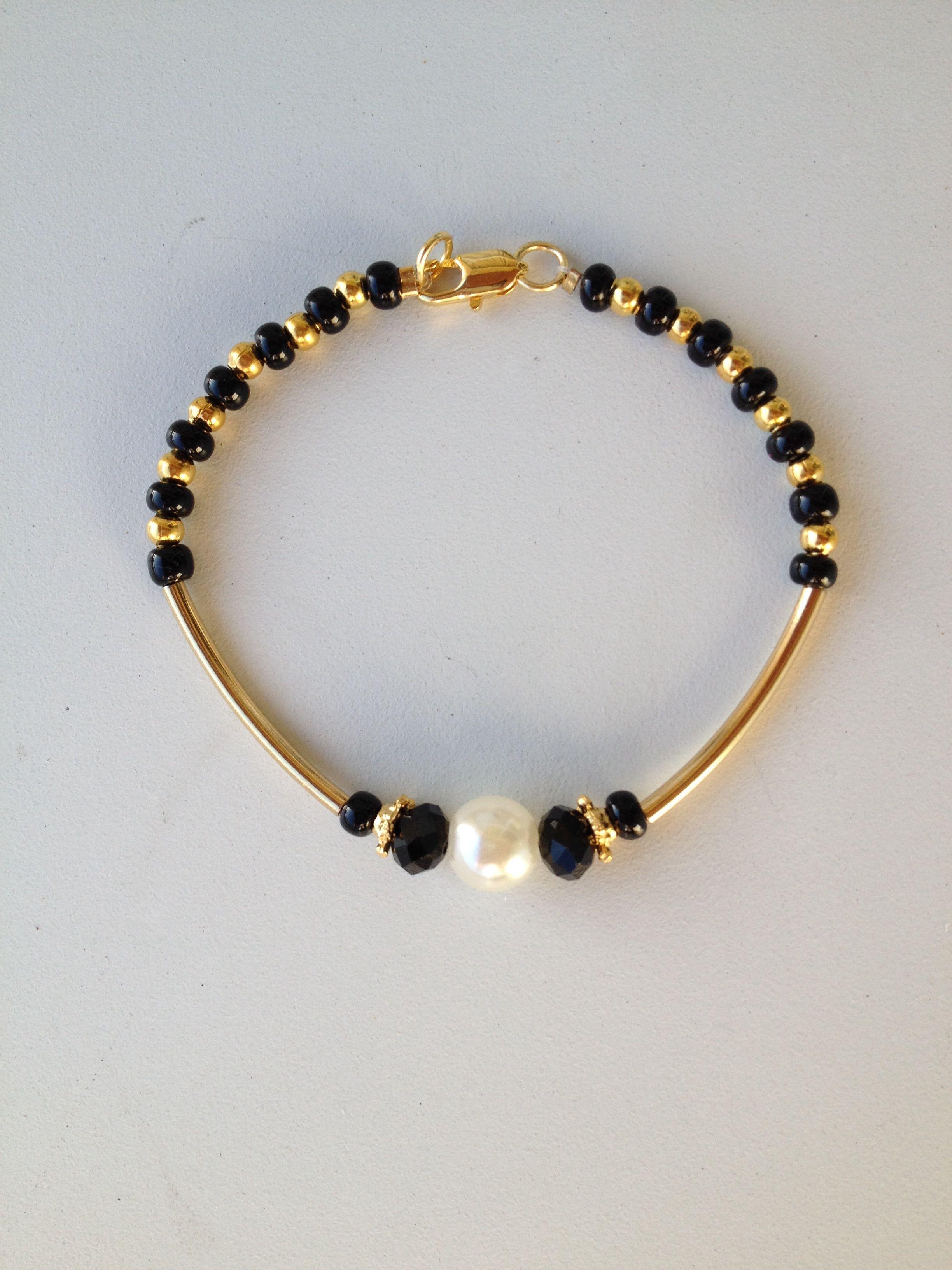 139631502fad black beaded bracelet with gold tube pulseira preta miçanga cristais e  tubinho Pulseras De Cristal