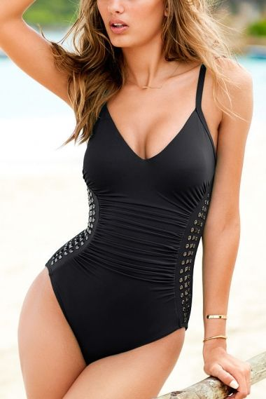Black Beaded Deep V-neck Ruched One-piece Swimsuit