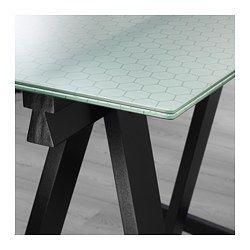 Glasholm Oddvald Table Glass Honeycomb Pattern Black 58 1 4x28 3 4 Ikea Ikea Glass Table Glass Table Honeycomb Pattern