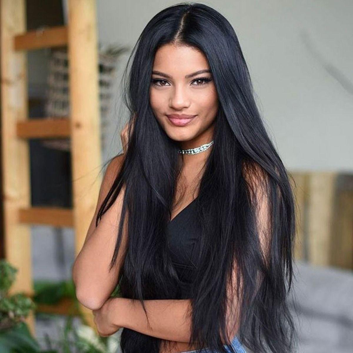 Long Straight Hair Natural Black Remy Human Hair Pre Plucked With Baby Hair 360 Lace Frontal Wigs Gerade Frisuren Perucke Frisuren Glatte Schwarze Haare