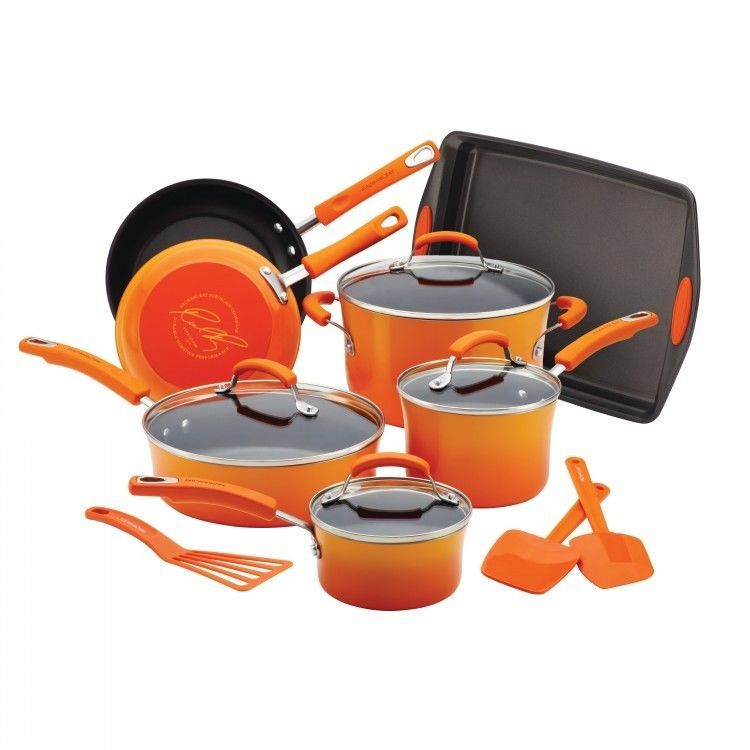 Orange Nonstick Cookware Set Gradient Orange 14-Piece Set With Bakeware & Tools #Rachael