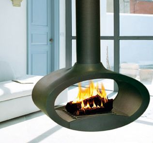 Suspended Wood Fireplace from Brisach - Ovalie fireplace pivots 360 degrees