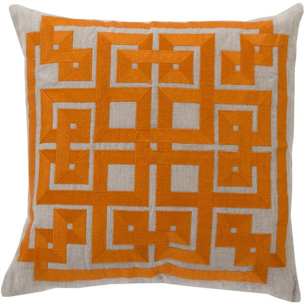 Gramercy Pillow In Bright Orange Light Grey Design By Beth Custom Bright Orange Decorative Pillows