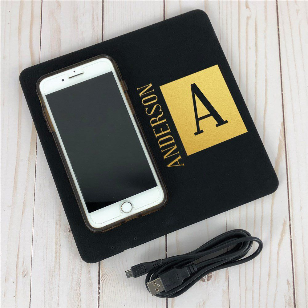 Engraved Square Name And Initial Wireless Phone Charging