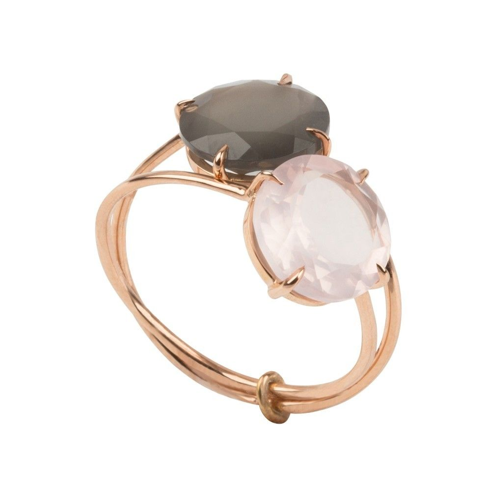 BAGUE DOUBLE OR ROSE QUARTZ FUME ET QUARTZ ROSE