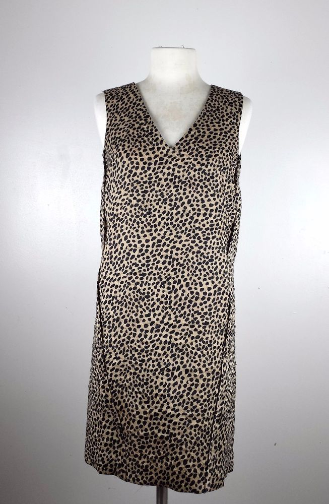 Ann Taylor Animal Print V Neck Sleeveless Shift Dress Xs Anntaylor Jymanii