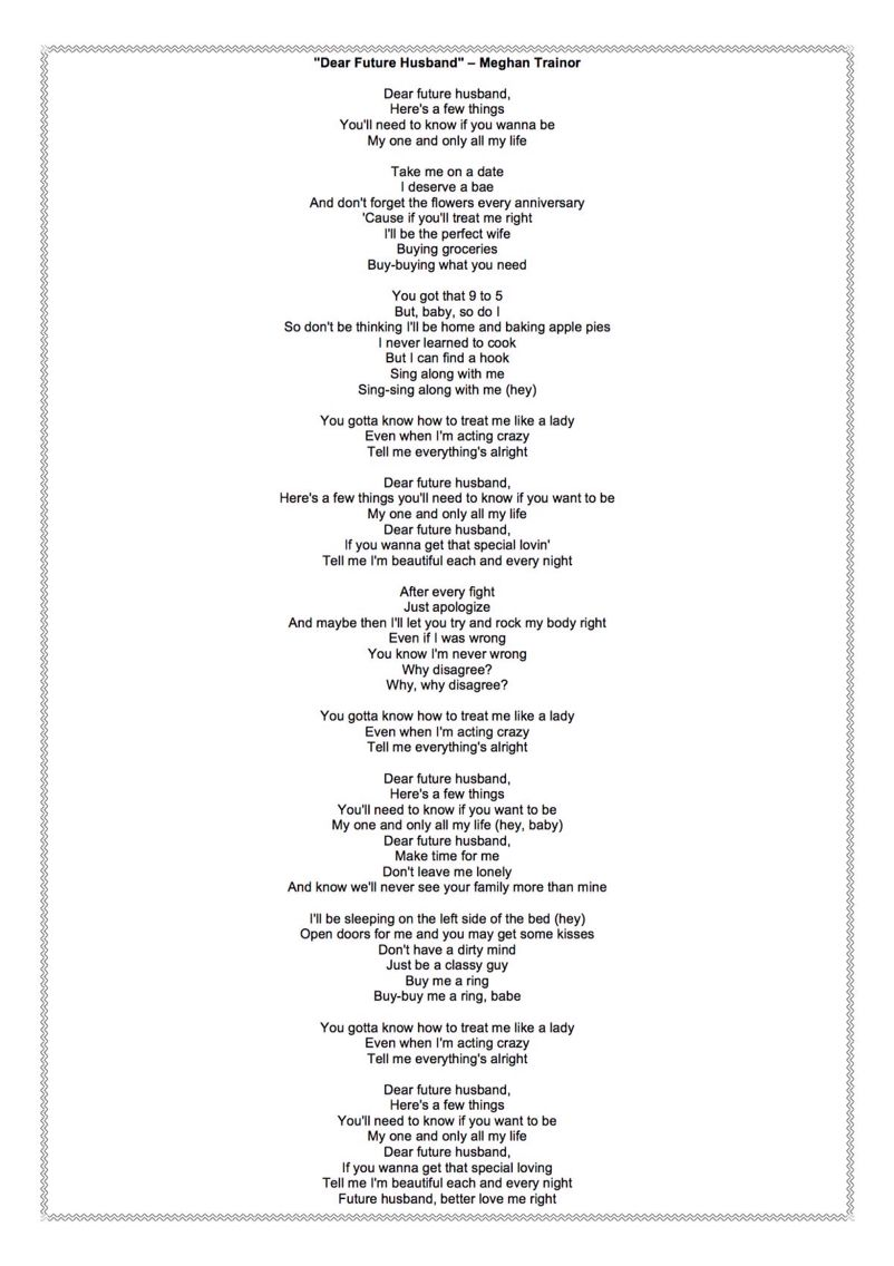 LUVS This SongThis Is The Lyrics For Dear Future Husband By Meghan Trainor
