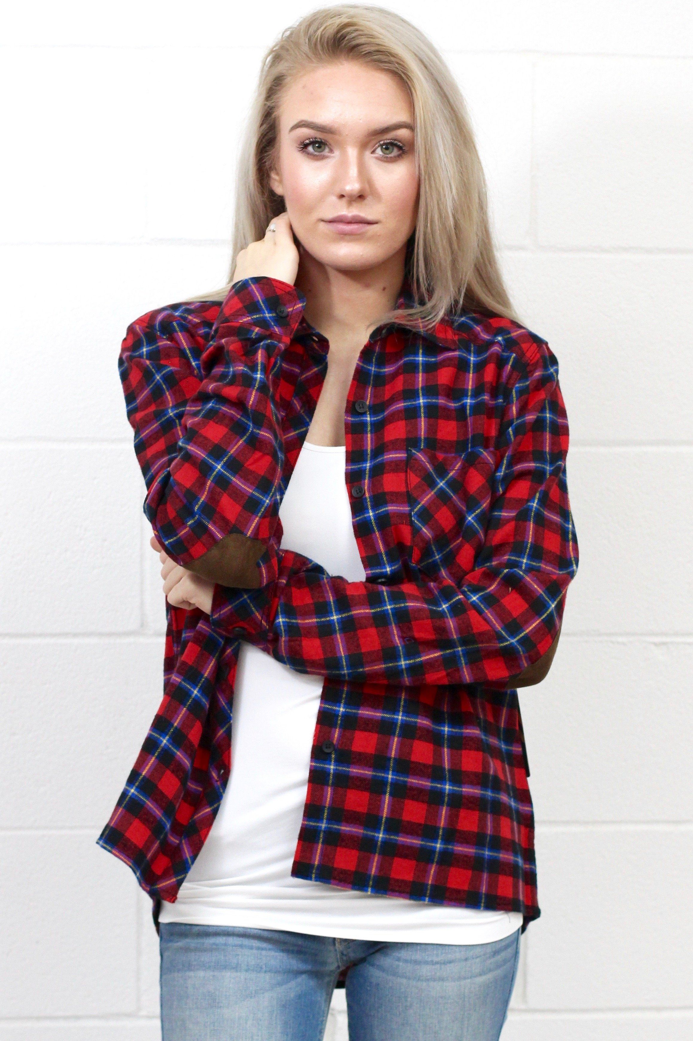 Out of the Woods Elbow Patch Plaid Flannel Red Mix  Products