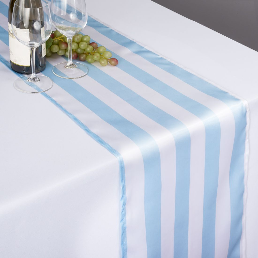 14 X 108 In Baby Blue Amp White Striped Satin Table Runner