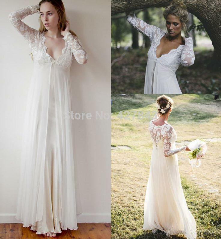 Simple-Bohemian-Wedding-Dress-Lace-Long-Sleeves-Long-Floor-Length ...