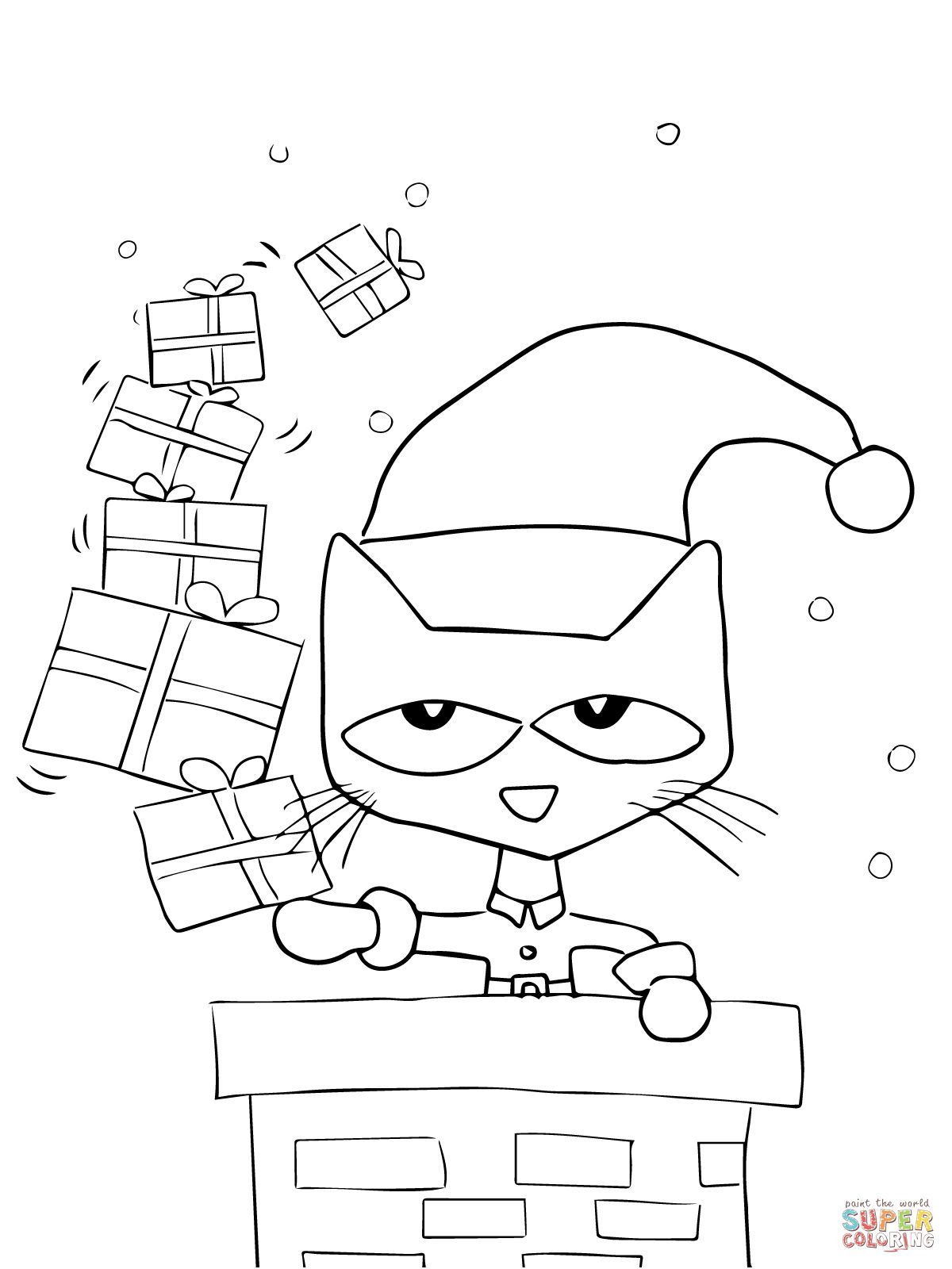 Pete The Cat Saves Christmas Coloring Page Supercoloringcom