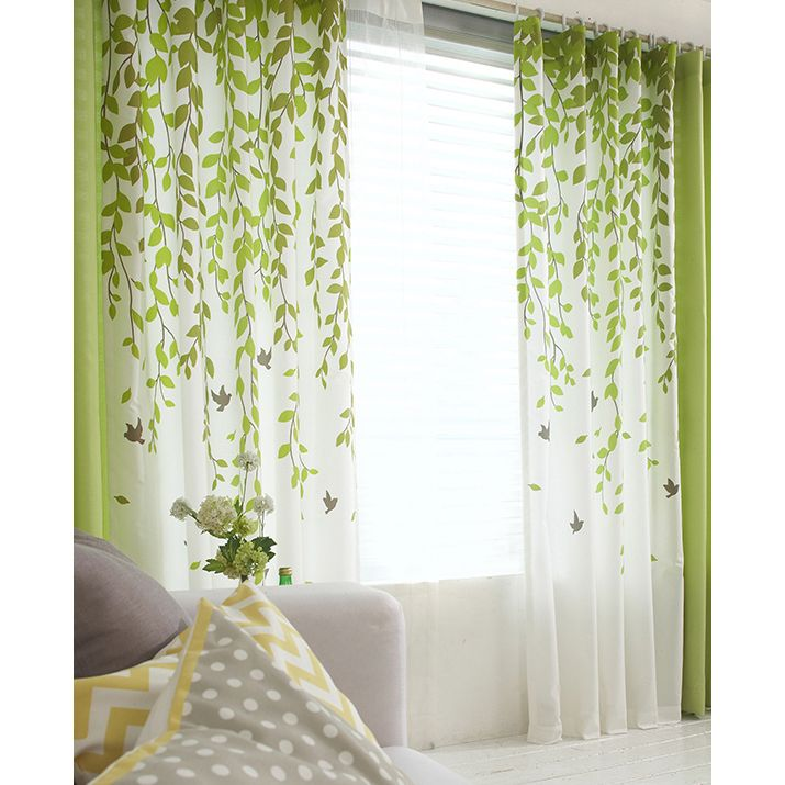 Lime Green And White Leaf Print Poly Cotton Blend Country Living Room Curtains