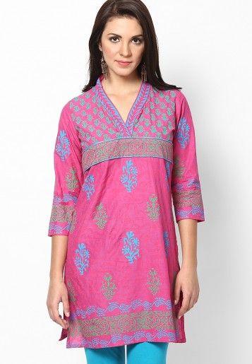 3/4Th Sleeve Magenta Printed Kurti Online Shopping - Nee | NE618WA79DZKINDFAS