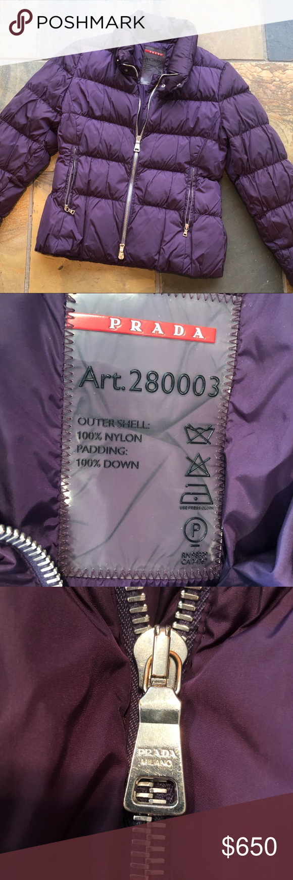 Prada Puffer Purple Prada Puffer Jacket With Silver Zippers And Buttons In Perfect Condition Super Cute And Warm Prada Jackets Prada Prada Art Prada Jacket [ 1740 x 580 Pixel ]